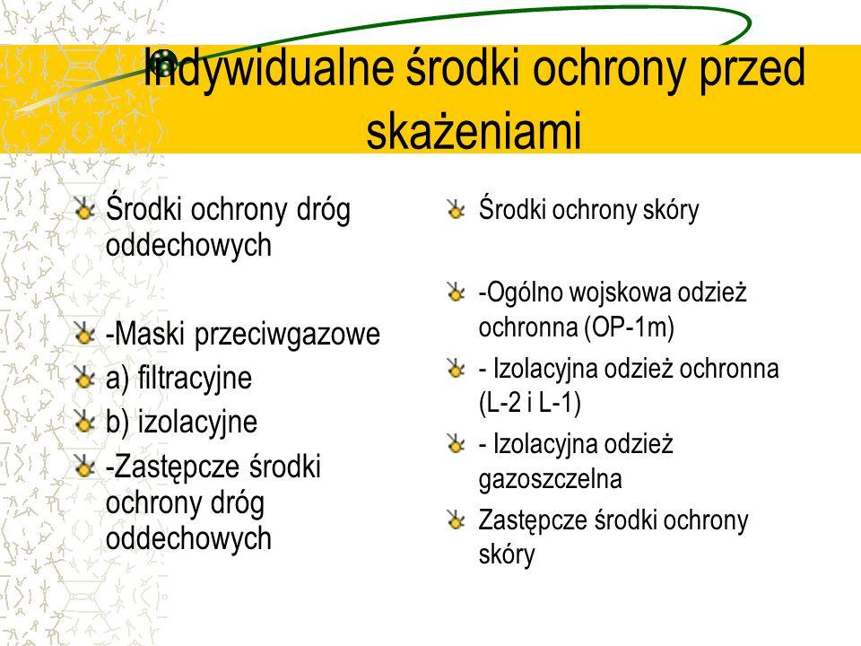Indywidualne środki ochrony przed skażeniami Środki ochrony dróg oddechowych -Maski przeciwgazowe a) filtracyjne b) izolacyjne -Zastępcze środki ochro