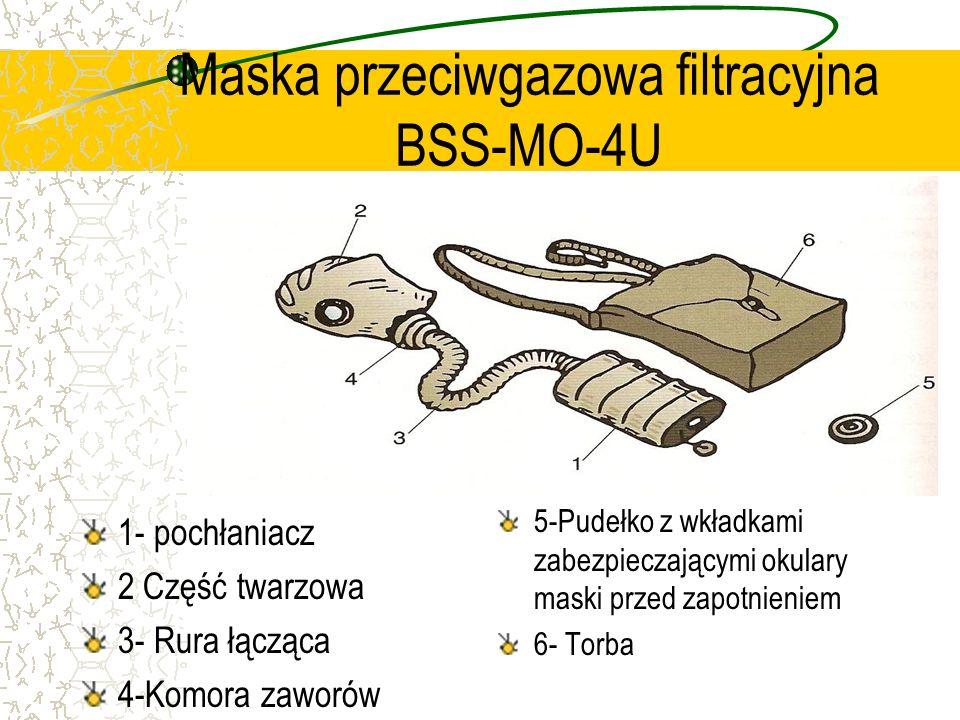Maska przeciwgazowa filtracyjna BSS-MO-4U 1- pochłaniacz 2 Część twarzowa 3- Rura łącząca 4-Komora zaworów 5-Pudełko z wkładkami zabezpieczającymi oku