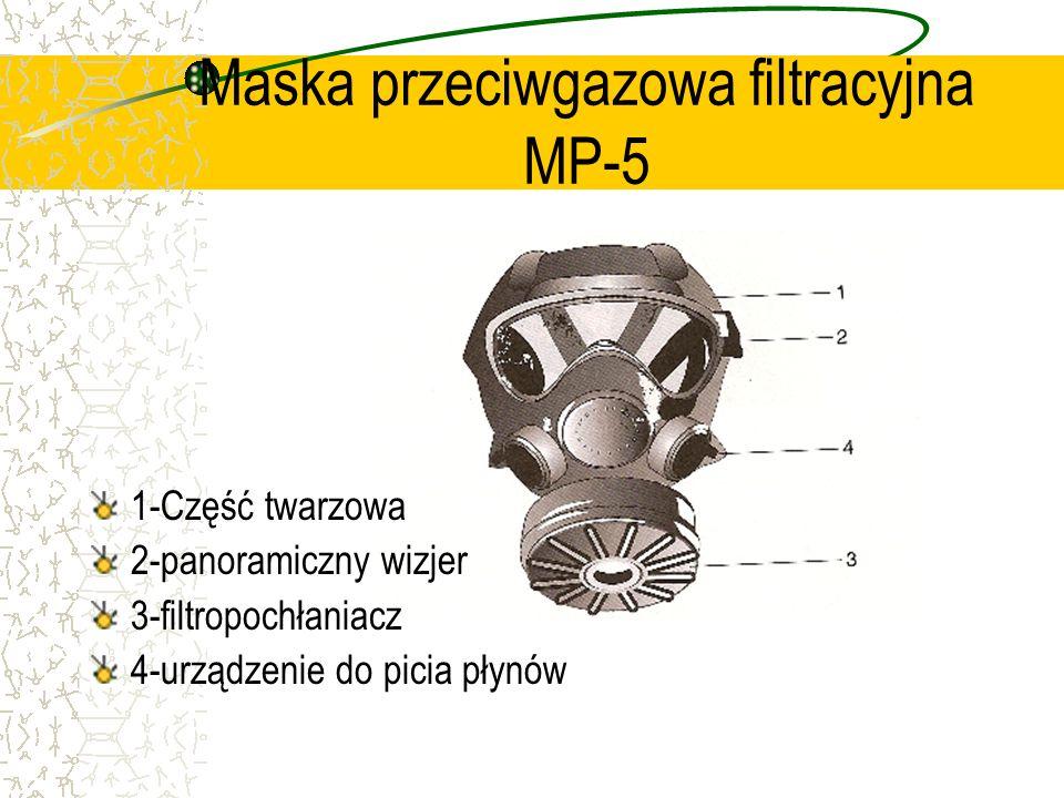 Maska przeciwgazowa filtracyjna MP-5 1-Część twarzowa 2-panoramiczny wizjer 3-filtropochłaniacz 4-urządzenie do picia płynów