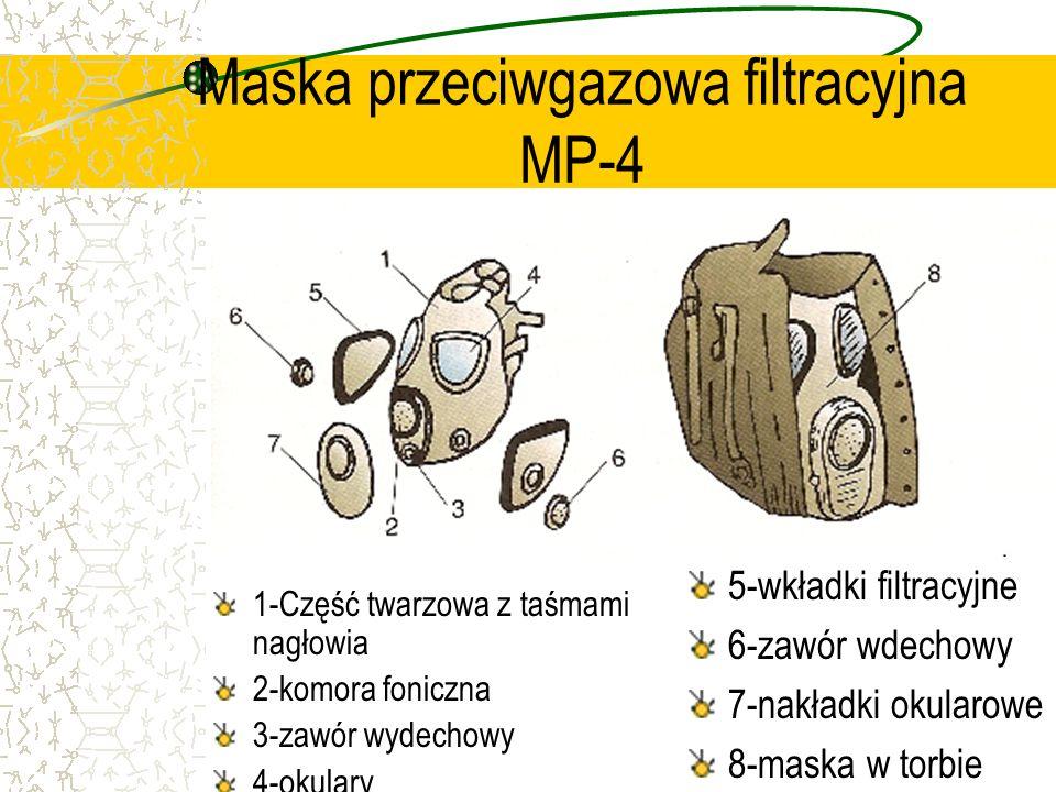 Maska przeciwgazowa filtracyjna MP-4 1-Część twarzowa z taśmami nagłowia 2-komora foniczna 3-zawór wydechowy 4-okulary 5-wkładki filtracyjne 6-zawór w