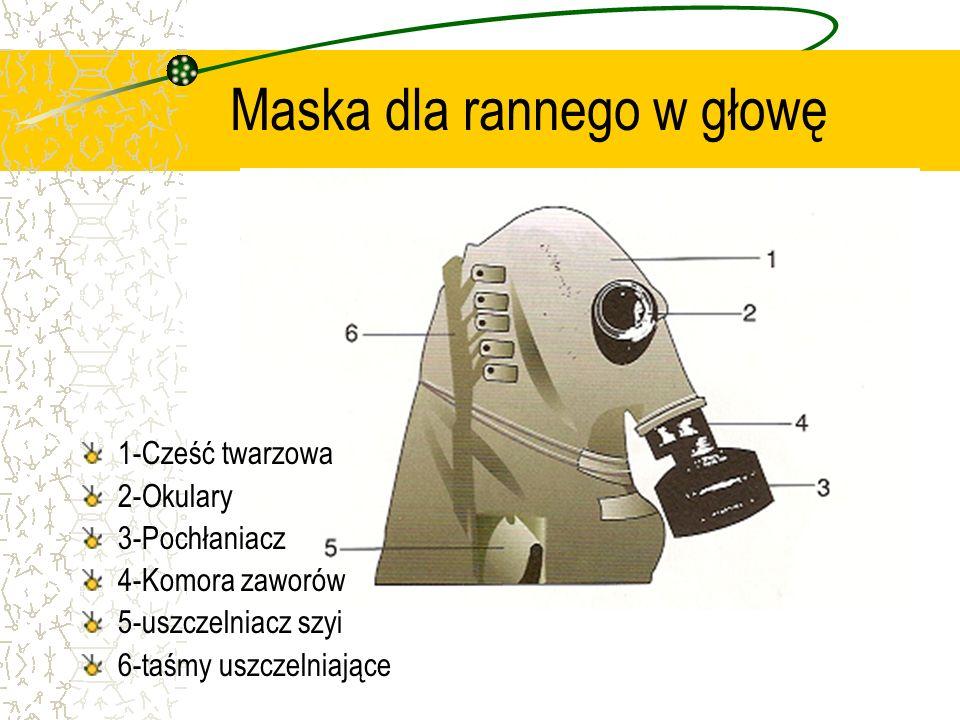 Maska dla rannego w głowę 1-Cześć twarzowa 2-Okulary 3-Pochłaniacz 4-Komora zaworów 5-uszczelniacz szyi 6-taśmy uszczelniające