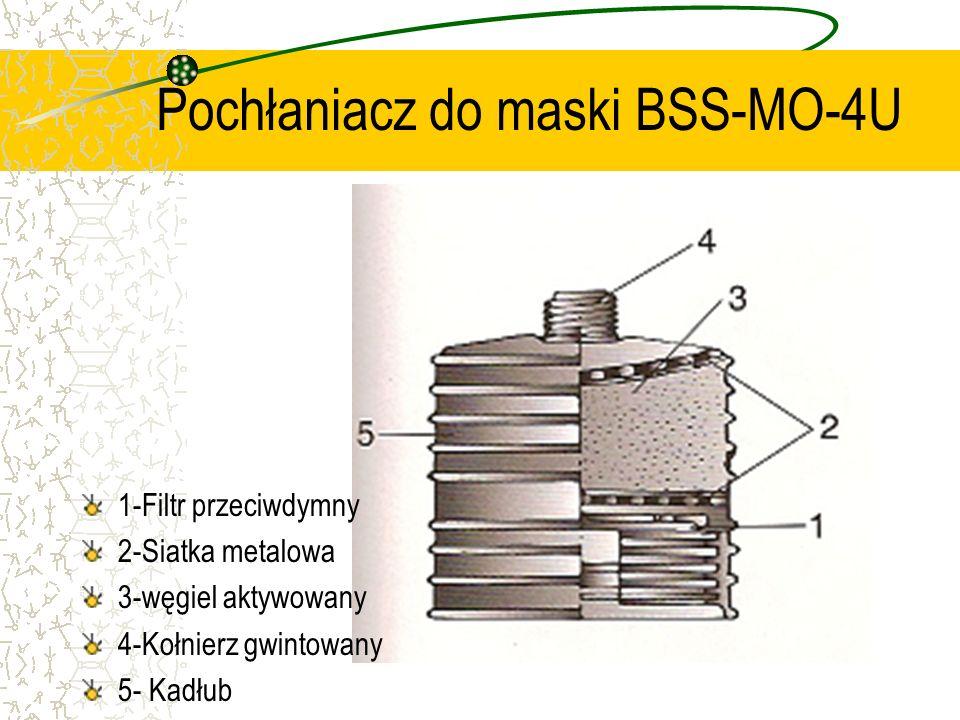 Pochłaniacz do maski BSS-MO-4U 1-Filtr przeciwdymny 2-Siatka metalowa 3-węgiel aktywowany 4-Kołnierz gwintowany 5- Kadłub