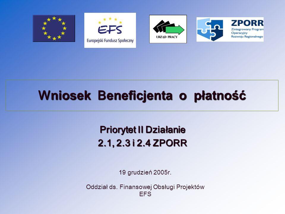 2 Wniosek o płatność należy przygotować zgodnie z obowiązującą Instrukcją do Wniosku beneficjenta o płatność na obowiązującym formularzu (nie należy dokonywać żadnych zmian).