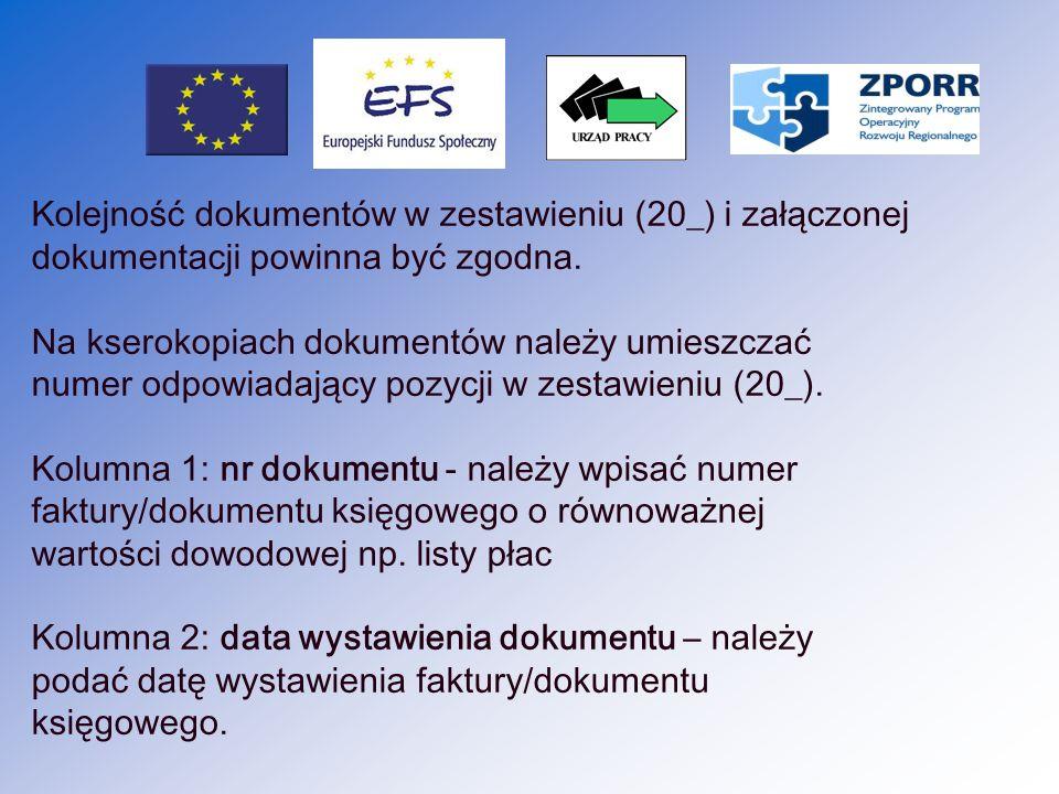 18 Kolumna 3: nr księgowy/ewidencyjny numer pod, którym dany dokument został zarejestrowany w księgach rachunkowych ( numer ten należy umieszczać w prawym górnym rogu dokumentu ) Kolumna 4: pozycja w zestawieniu rzeczowo finansowym - w przypadku ZPORR nie jest wymagane tworzenie zestawienia rzeczowo finansowego.
