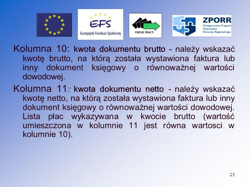 24 Kolumna 12: kwota wydatków kwalifikowalnych - należy w pisać kwotę wydatku kwalifikowalnego danej pozycji na fakturze (kwota ta obejmuje VAT, w przypadku, gdy jest on kwalifikowalny).