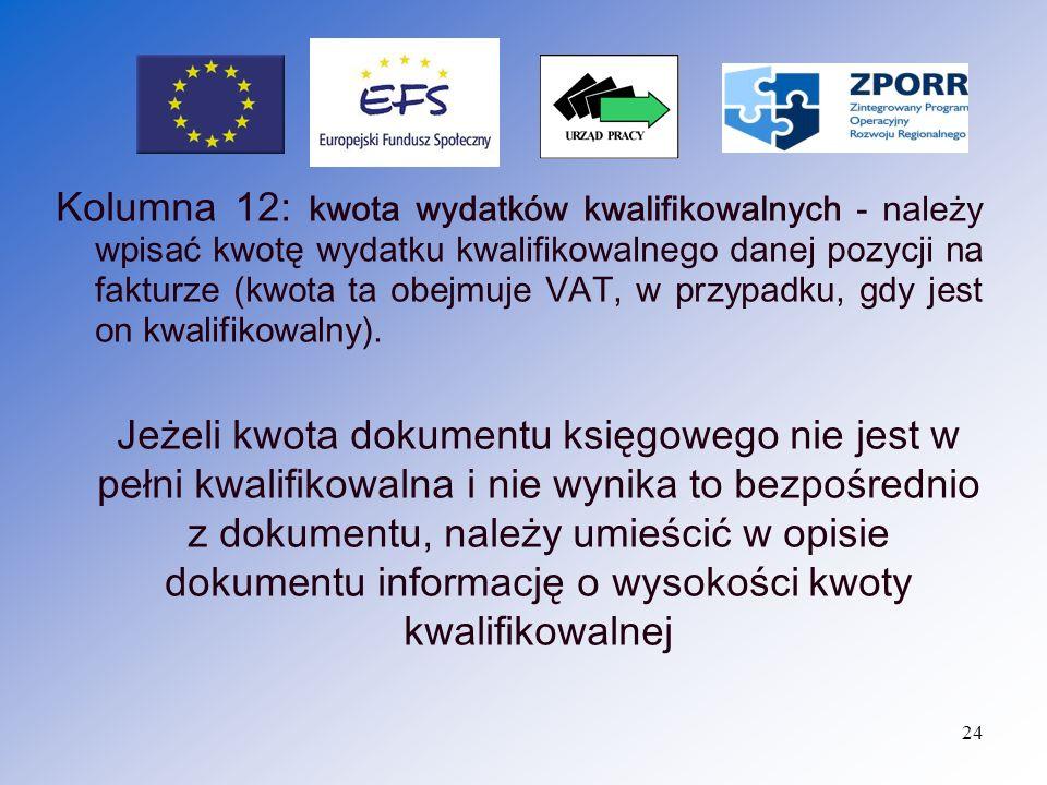 25 Kolumna 13: w tym VAT - należy wyszczególnić kwotę VAT z kwoty wydatku kwalifikowalnego z k olumny nr 12 ( jeżeli VAT jest wydatkiem kwalifikowalnym ).