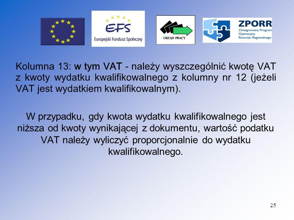 26 (21_) - tabela wypełniana jest przez Instytucję Wdrażającą, z zastrzeżeniem: w przypadku występowania wkładu własnego Beneficjenta w realizacji projektu, Beneficjent wprowadza kwoty, z których zostały sfinansowane wydatki stanowiące wkład własny.