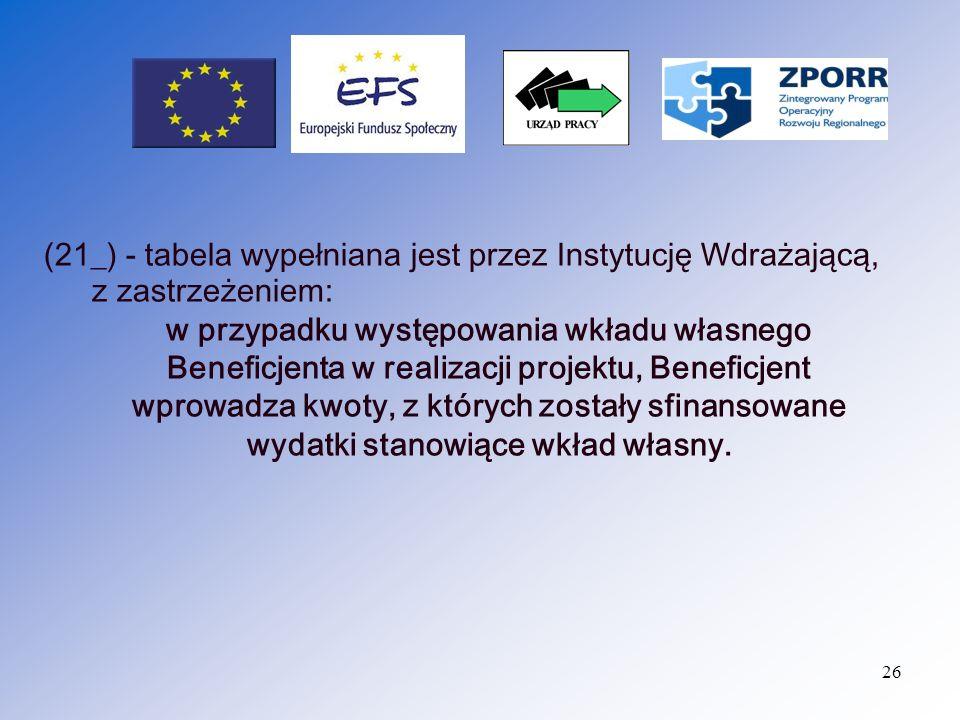 27 (22_) – Uzyskany przychód w okresie objętym wnioskiem (jeżeli zostało przewidziane w umowie/decyzji o dofinansowaniu).
