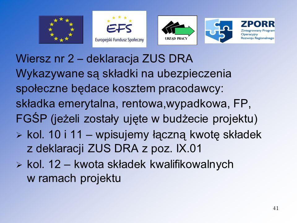 42 Rozliczenie wypłat z tytułu umów zleceń : kol.