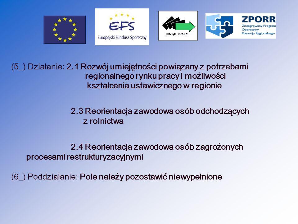 (7_) Nazwa projektu: Nazwa projektu zgodnie z Umową o dofinansowanie (8_) Nr projektu/partnerstwa na rzecz rozwoju: numer zawarty w umowie o dofinansowanie (9_) Umowa/decyzja o dofinansowaniu nr: zgodnie z zawartą umową