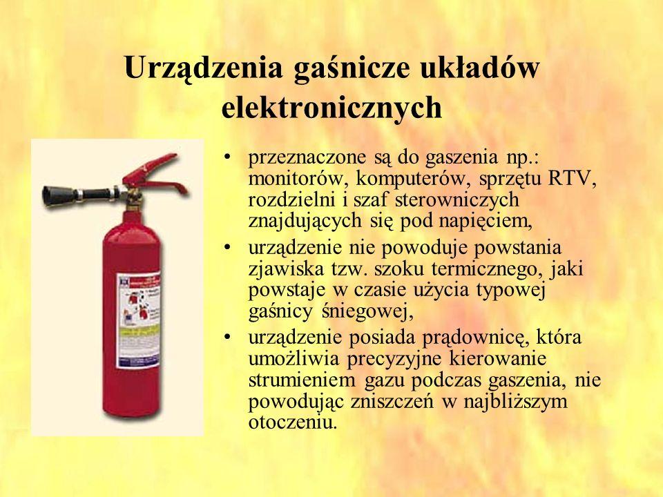 Urządzenia gaśnicze układów elektronicznych przeznaczone są do gaszenia np.: monitorów, komputerów, sprzętu RTV, rozdzielni i szaf sterowniczych znajd