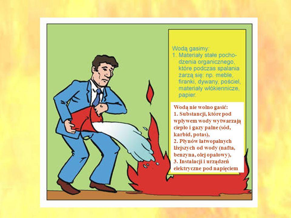 Wodą nie wolno gasić: 1. Substancji, które pod wpływem wody wytwarzają ciepło i gazy palne (sód, karbid, potas), 2. Płynów łatwopalnych lżejszych od w