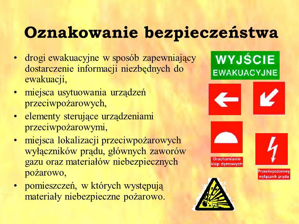 Oznakowanie bezpieczeństwa drogi ewakuacyjne w sposób zapewniający dostarczenie informacji niezbędnych do ewakuacji, miejsca usytuowania urządzeń prze