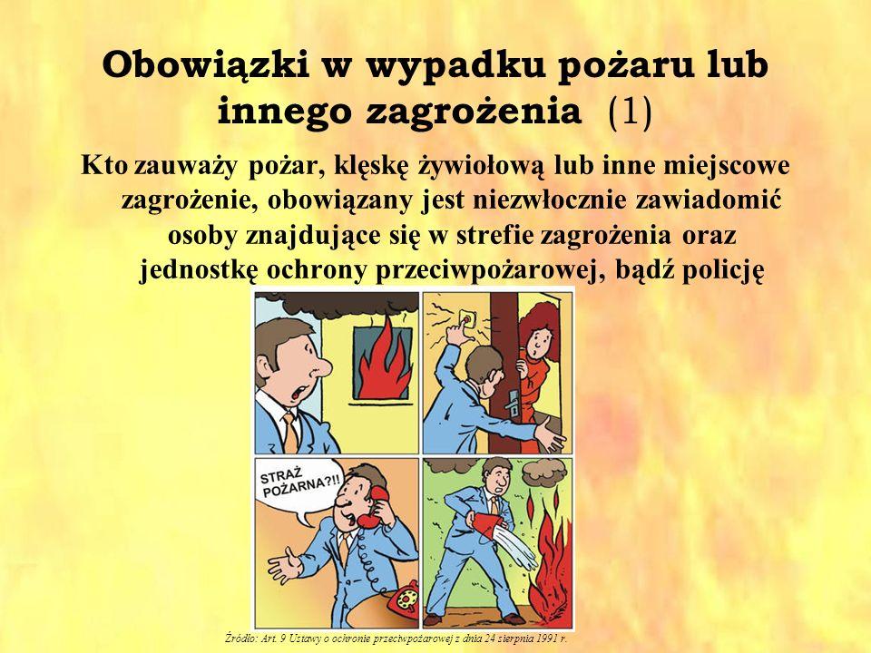 Obowiązki w wypadku pożaru lub innego zagrożenia (1) Kto zauważy pożar, klęskę żywiołową lub inne miejscowe zagrożenie, obowiązany jest niezwłocznie z