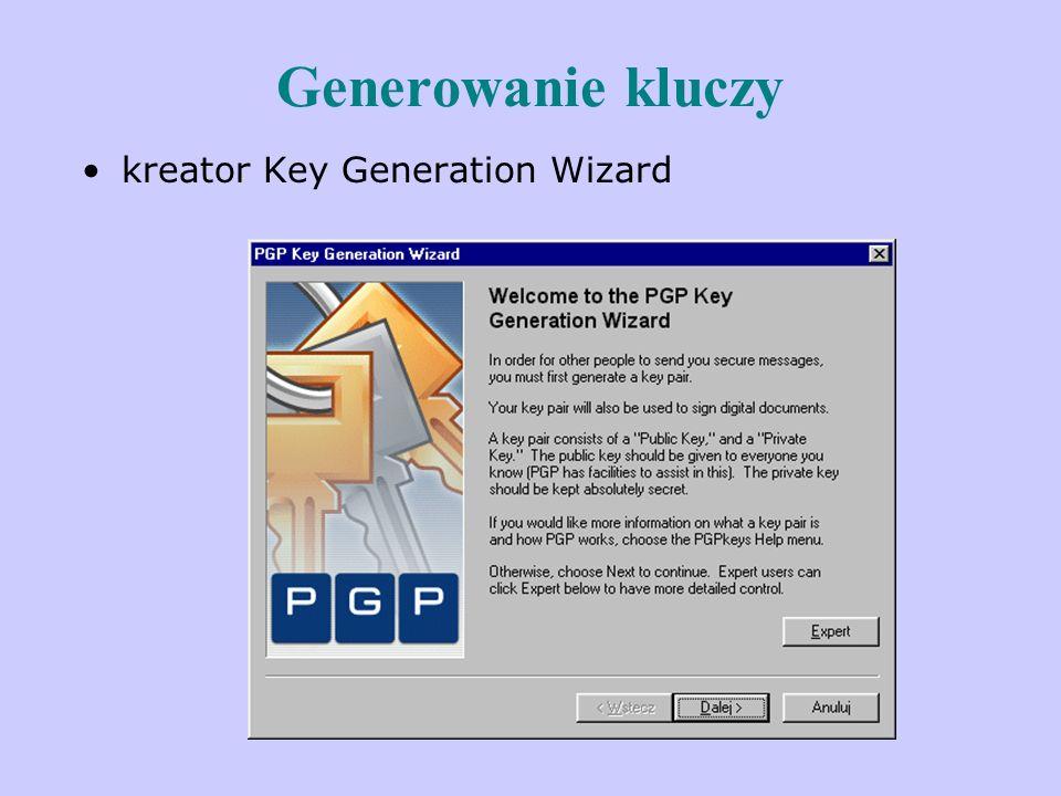 Generowanie kluczy kreator Key Generation Wizard
