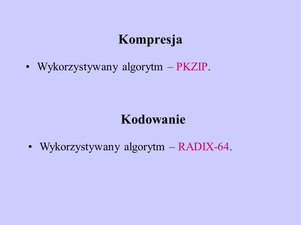 Kompresja Wykorzystywany algorytm – PKZIP. Kodowanie Wykorzystywany algorytm – RADIX-64.