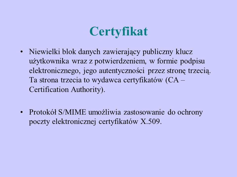 Certyfikat Niewielki blok danych zawierający publiczny klucz użytkownika wraz z potwierdzeniem, w formie podpisu elektronicznego, jego autentyczności