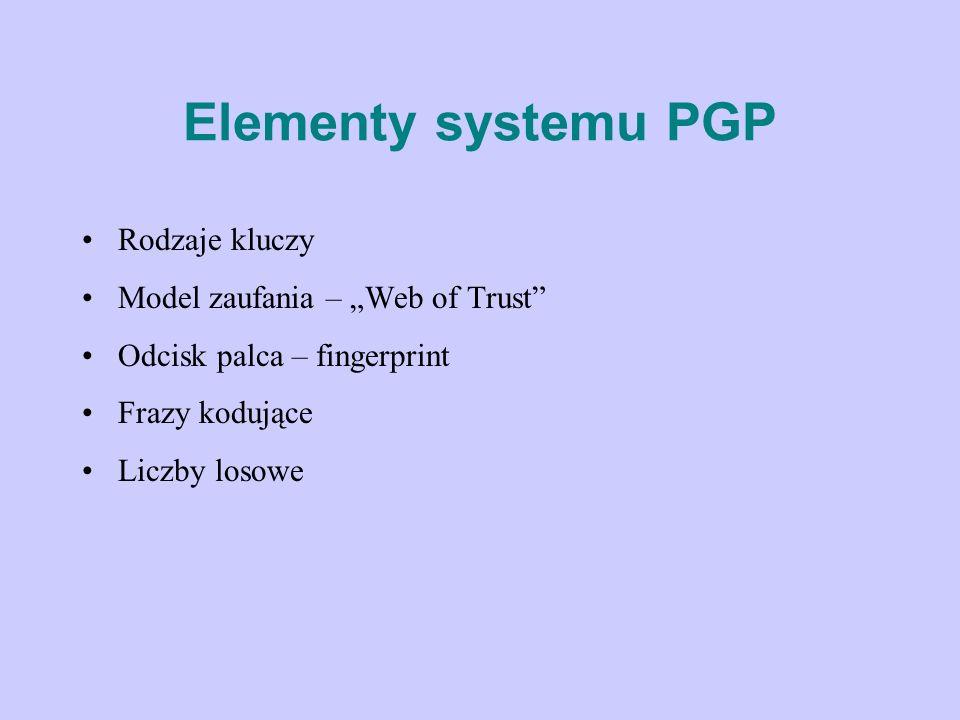 Elementy systemu PGP Rodzaje kluczy Model zaufania – Web of Trust Odcisk palca – fingerprint Frazy kodujące Liczby losowe