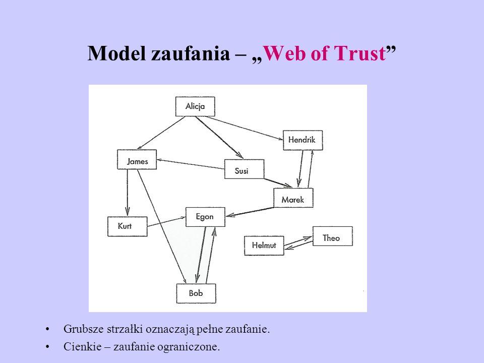 Model zaufania – Web of Trust Grubsze strzałki oznaczają pełne zaufanie. Cienkie – zaufanie ograniczone.
