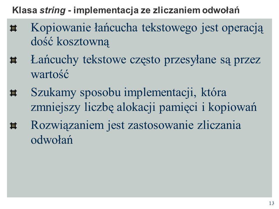 13 Klasa string - implementacja ze zliczaniem odwołań Kopiowanie łańcucha tekstowego jest operacją dość kosztowną Łańcuchy tekstowe często przesyłane są przez wartość Szukamy sposobu implementacji, która zmniejszy liczbę alokacji pamięci i kopiowań Rozwiązaniem jest zastosowanie zliczania odwołań