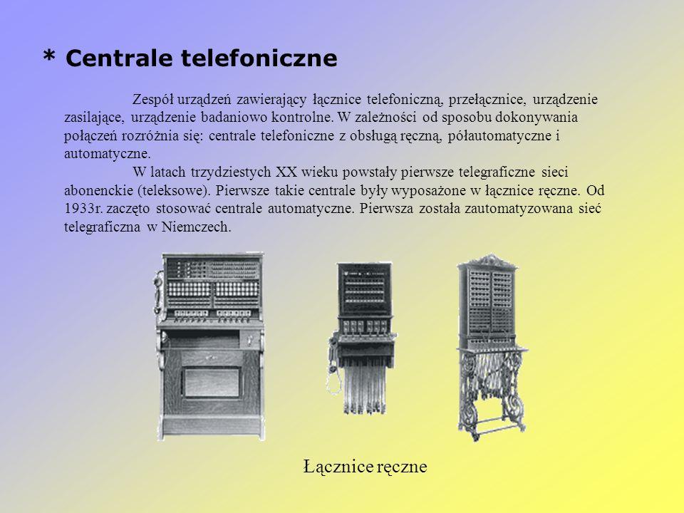 * Centrale telefoniczne Zespół urządzeń zawierający łącznice telefoniczną, przełącznice, urządzenie zasilające, urządzenie badaniowo kontrolne. W zale