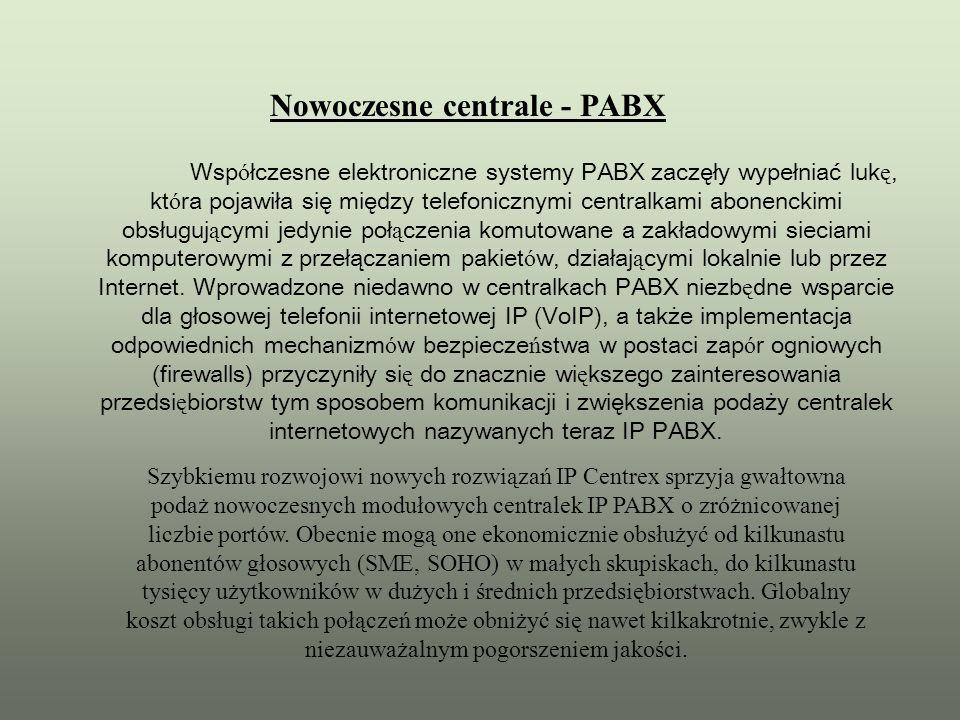 Wsp ó łczesne elektroniczne systemy PABX zaczęły wypełniać luk ę, kt ó ra pojawiła się między telefonicznymi centralkami abonenckimi obsługuj ą cymi j