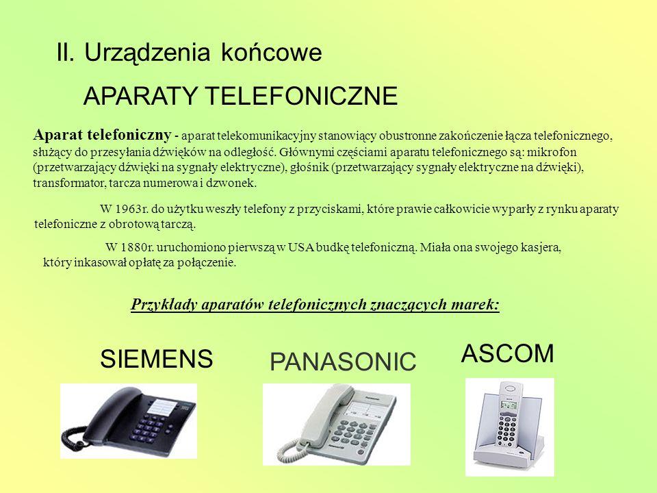 II. Urządzenia końcowe APARATY TELEFONICZNE Aparat telefoniczny - aparat telekomunikacyjny stanowiący obustronne zakończenie łącza telefonicznego, słu