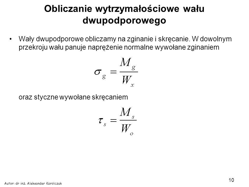 Autor: dr inż. Aleksander Karolczuk 10 Obliczanie wytrzymałościowe wału dwupodporowego Wały dwupodporowe obliczamy na zginanie i skręcanie. W dowolnym