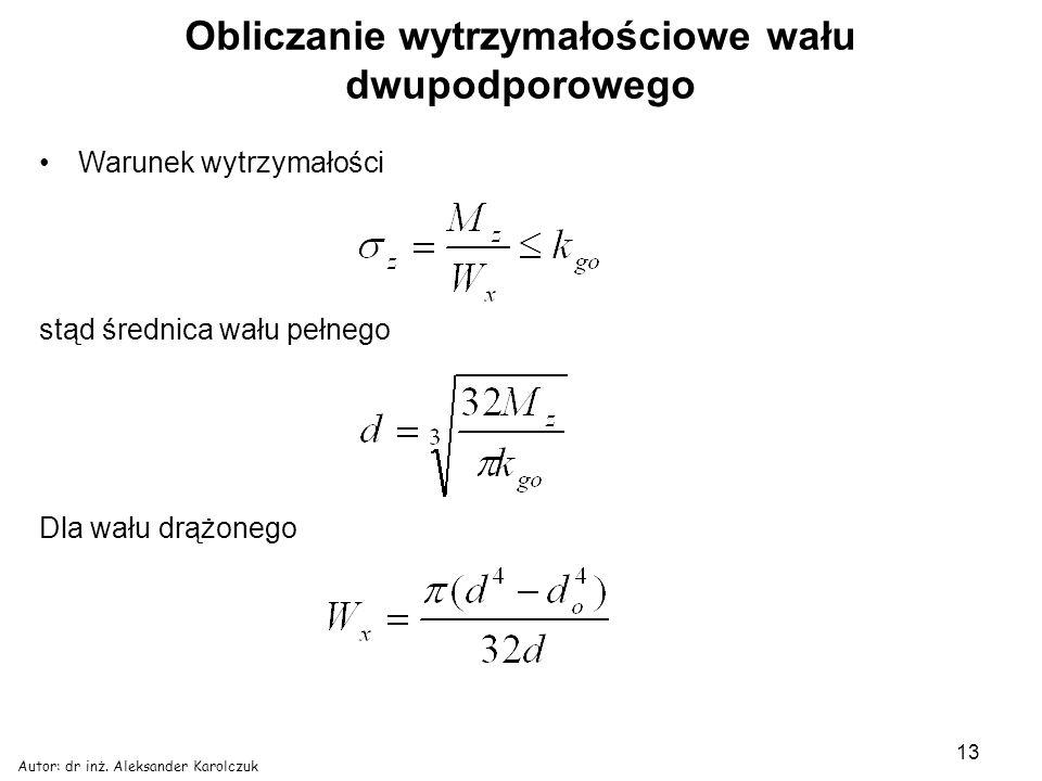 Autor: dr inż. Aleksander Karolczuk 13 Obliczanie wytrzymałościowe wału dwupodporowego Warunek wytrzymałości stąd średnica wału pełnego Dla wału drążo