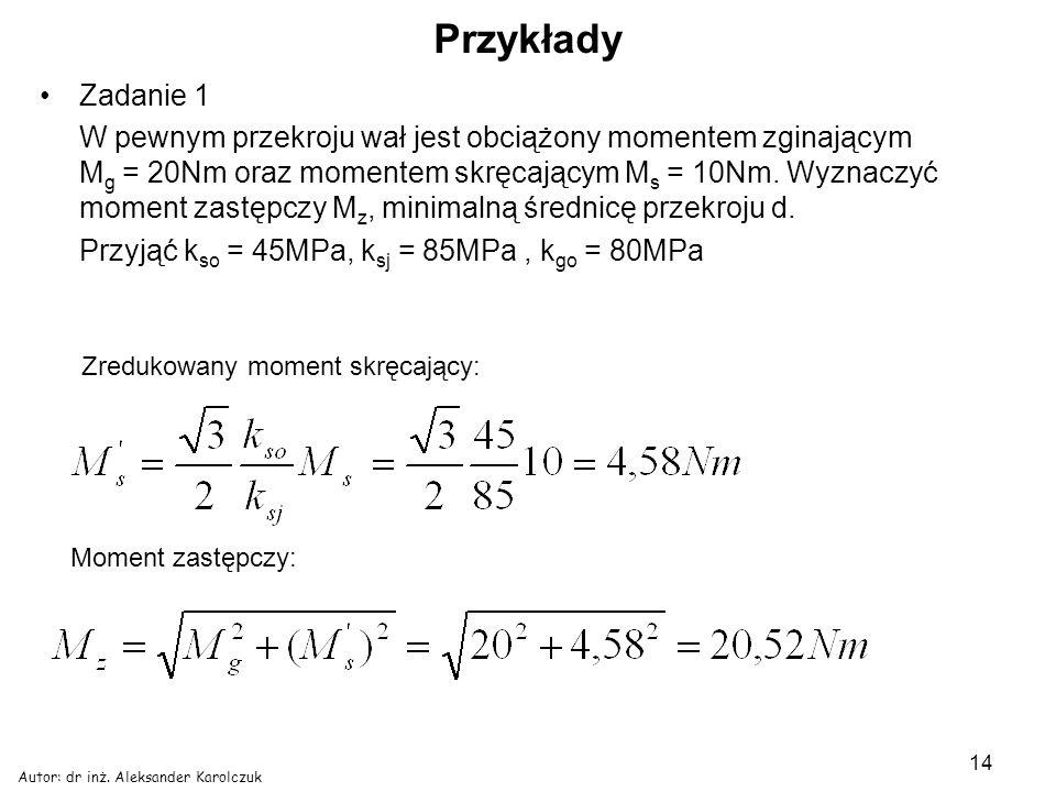 Autor: dr inż. Aleksander Karolczuk 14 Przykłady Zadanie 1 W pewnym przekroju wał jest obciążony momentem zginającym M g = 20Nm oraz momentem skręcają