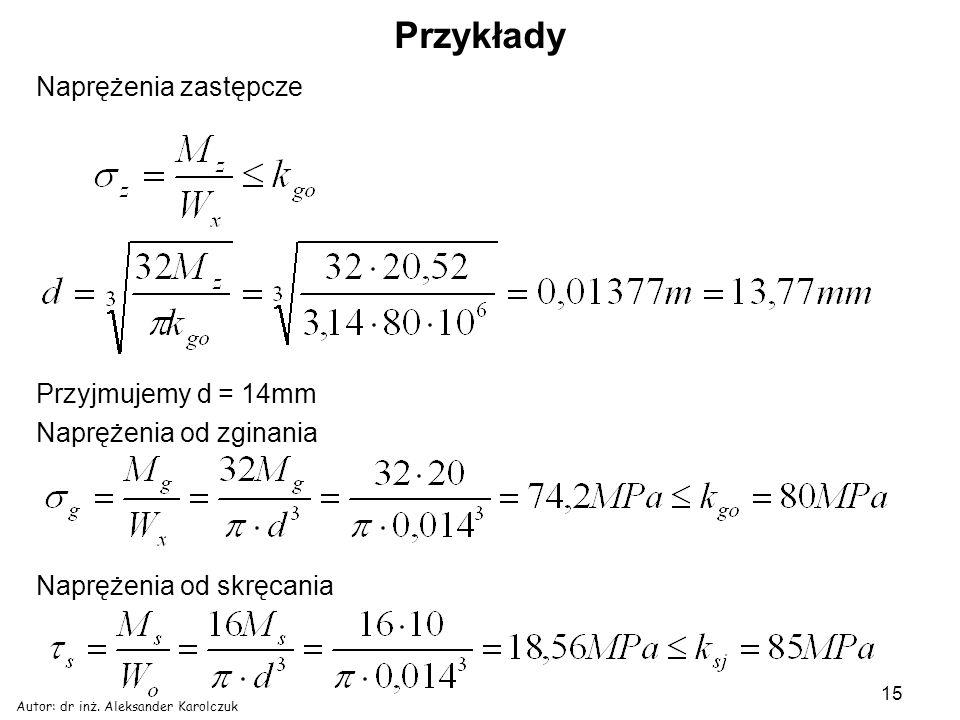 Autor: dr inż. Aleksander Karolczuk 15 Przykłady Naprężenia zastępcze Przyjmujemy d = 14mm Naprężenia od zginania Naprężenia od skręcania