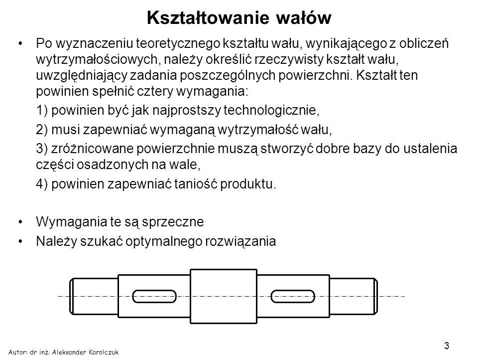 Autor: dr inż. Aleksander Karolczuk 3 Kształtowanie wałów Po wyznaczeniu teoretycznego kształtu wału, wynikającego z obliczeń wytrzymałościowych, nale