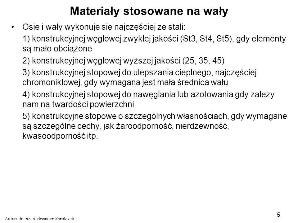 Autor: dr inż. Aleksander Karolczuk 5 Materiały stosowane na wały Osie i wały wykonuje się najczęściej ze stali: 1) konstrukcyjnej węglowej zwykłej ja