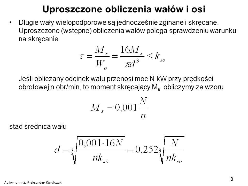 Autor: dr inż. Aleksander Karolczuk 8 Uproszczone obliczenia wałów i osi Długie wały wielopodporowe są jednocześnie zginane i skręcane. Uproszczone (w