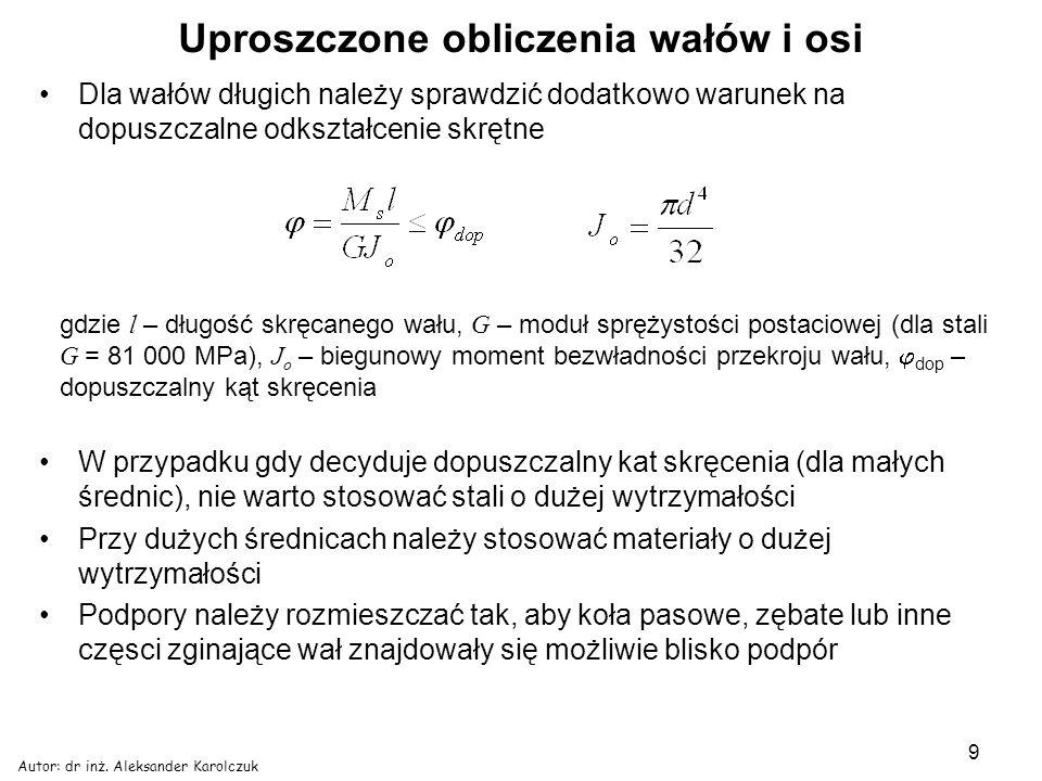 Autor: dr inż. Aleksander Karolczuk 9 Uproszczone obliczenia wałów i osi Dla wałów długich należy sprawdzić dodatkowo warunek na dopuszczalne odkształ