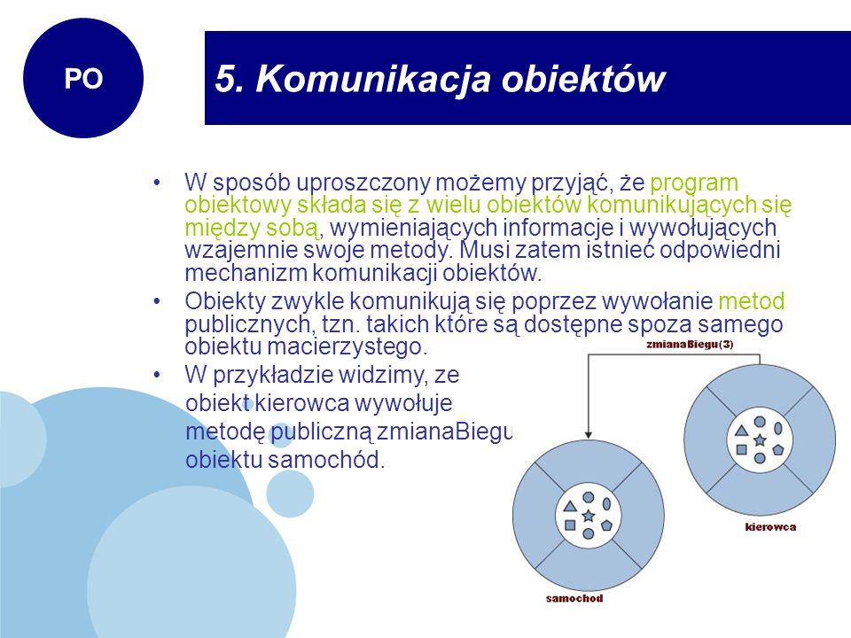 5. Komunikacja obiektów PO W sposób uproszczony możemy przyjąć, że program obiektowy składa się z wielu obiektów komunikujących się między sobą, wymie