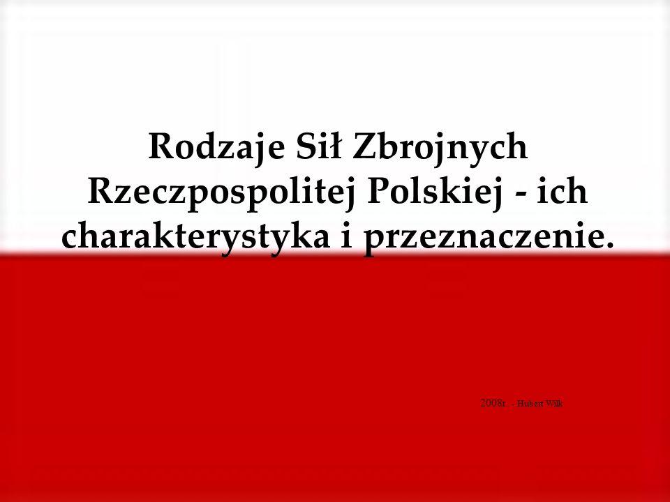 Rodzaje Sił Zbrojnych Rzeczpospolitej Polskiej - ich charakterystyka i przeznaczenie. 2008r. - Hubert Wilk