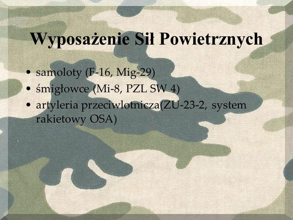 Wyposażenie Sił Powietrznych samoloty (F-16, Mig-29) śmigłowce (Mi-8, PZL SW 4) artyleria przeciwlotnicza(ZU-23-2, system rakietowy OSA)