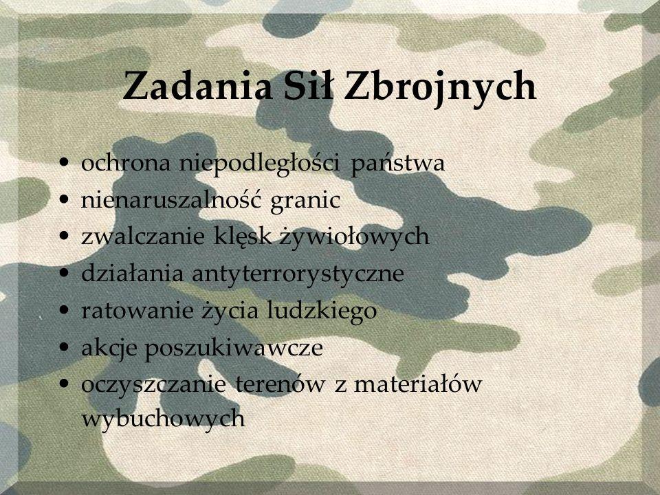 Marynarka wojenna ochrona polskich interesów na morzu zapewnienie bezpiecznej żeglugi w polskiej strefie odpowiedzialności; ratowanie życia na morzu w polskiej strefie odpowiedzialności demonstrowanie obecności na morzu w polskiej strefie zainteresowania państwa; współpraca z zagranicznymi siłami morskimi, szczególnie państwami Organizacji Paktu Północnoatlantyckiego ( NATO ); udział w operacjach pokojowych i antyterrorystycznych; odpowiednio wczesne wykrycie zagrożenia dla bezpieczeństwa państwa od strony morza; obrona państwa podczas wojny przed atakiem od strony morza; obrona wybrzeża i terenów nadmorskich przy współpracy z Wojskami Lądowymi i Siłami Powietrznymi