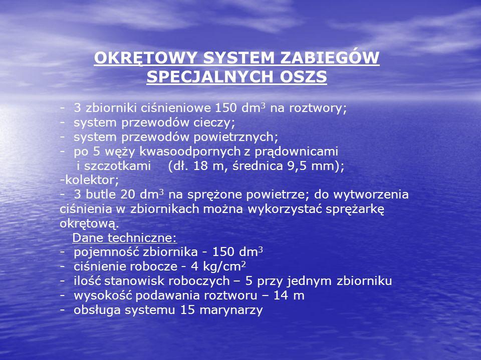 OKRĘTOWY SYSTEM ZABIEGÓW SPECJALNYCH OSZS - 3 zbiorniki ciśnieniowe 150 dm 3 na roztwory; - system przewodów cieczy; - system przewodów powietrznych;