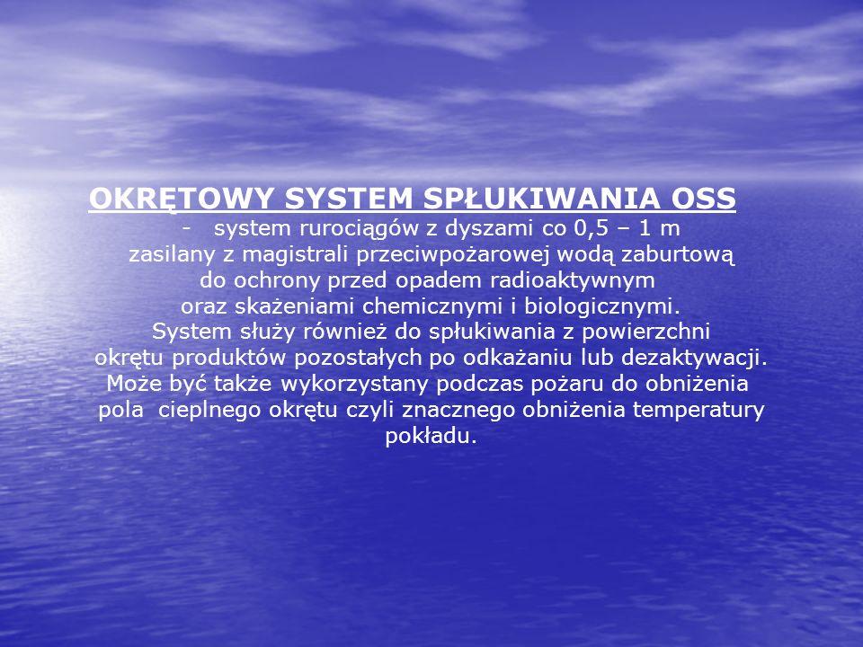 OKRĘTOWY SYSTEM SPŁUKIWANIA OSS - system rurociągów z dyszami co 0,5 – 1 m zasilany z magistrali przeciwpożarowej wodą zaburtową do ochrony przed opad