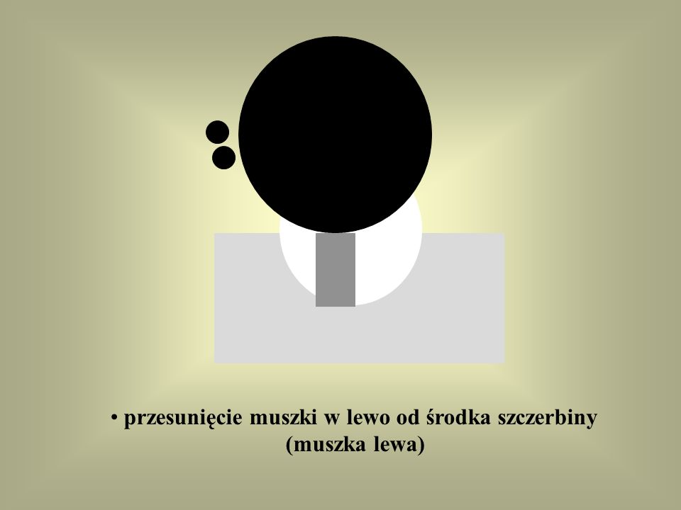 przesunięcie muszki w lewo od środka szczerbiny (muszka lewa)