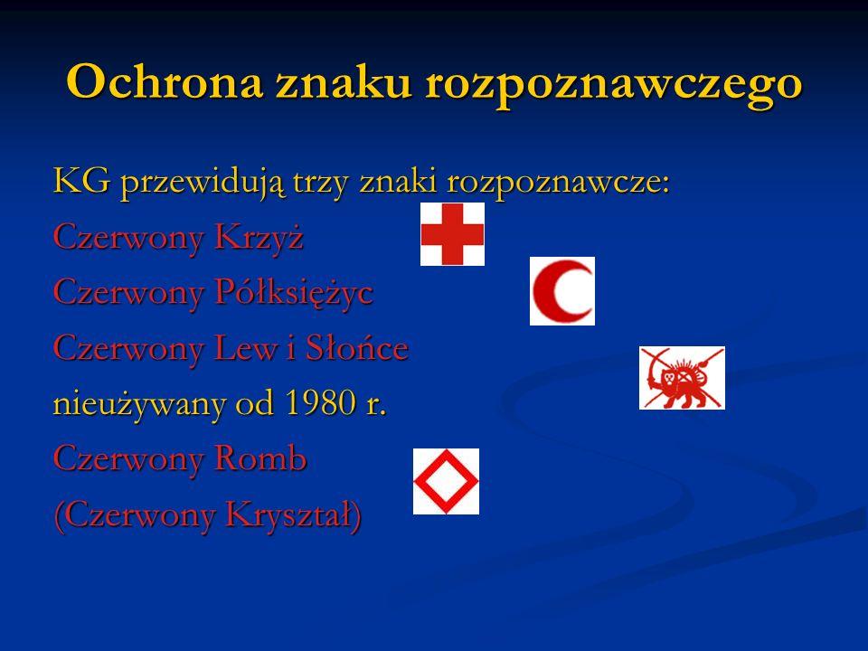 Ochrona znaku rozpoznawczego KG przewidują trzy znaki rozpoznawcze: Czerwony Krzyż Czerwony Półksiężyc Czerwony Lew i Słońce nieużywany od 1980 r. Cze