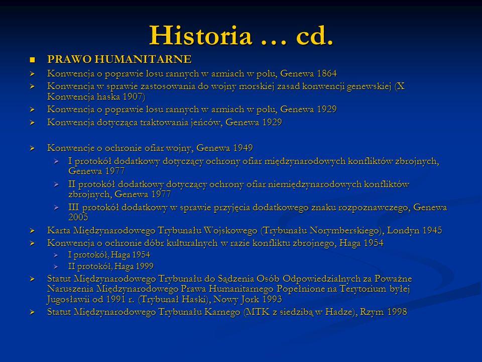 Historia … cd. PRAWO HUMANITARNE PRAWO HUMANITARNE Konwencja o poprawie losu rannych w armiach w polu, Genewa 1864 Konwencja o poprawie losu rannych w