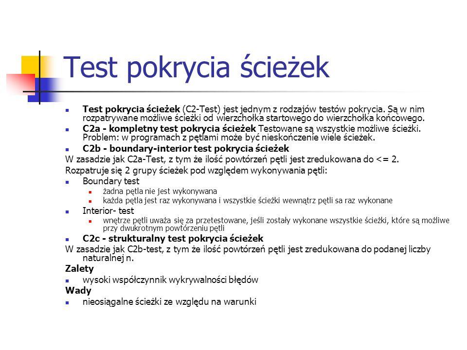 Test pokrycia ścieżek Test pokrycia ścieżek (C2-Test) jest jednym z rodzajów testów pokrycia. Są w nim rozpatrywane możliwe ścieżki od wierzchołka sta