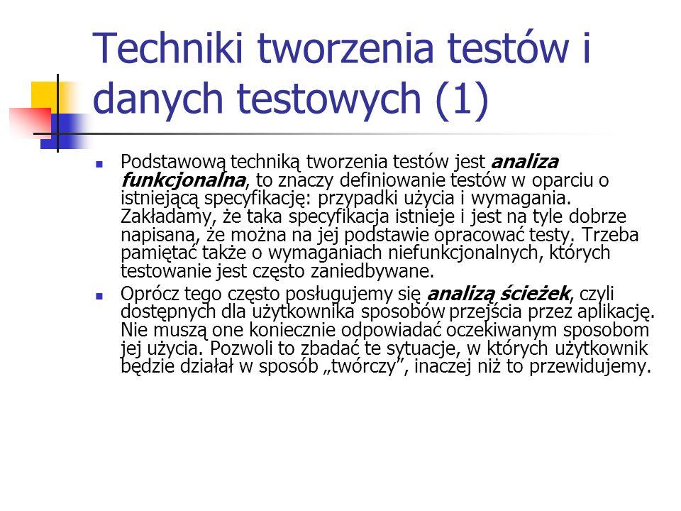 Techniki tworzenia testów i danych testowych (1) Podstawową techniką tworzenia testów jest analiza funkcjonalna, to znaczy definiowanie testów w oparc