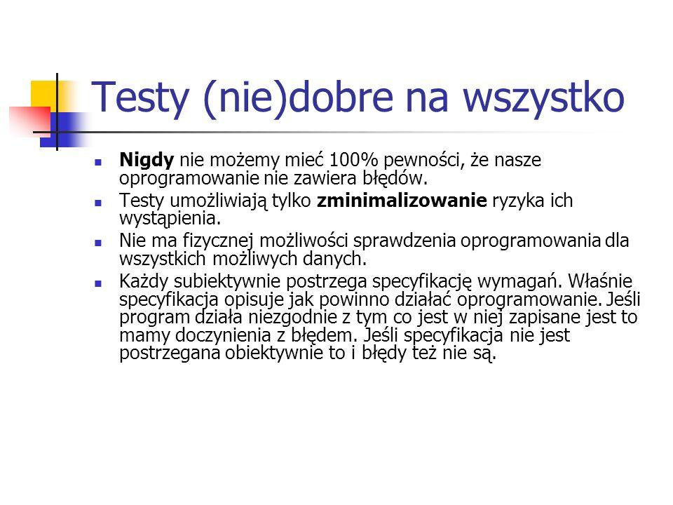 Testy (nie)dobre na wszystko Nigdy nie możemy mieć 100% pewności, że nasze oprogramowanie nie zawiera błędów. Testy umożliwiają tylko zminimalizowanie