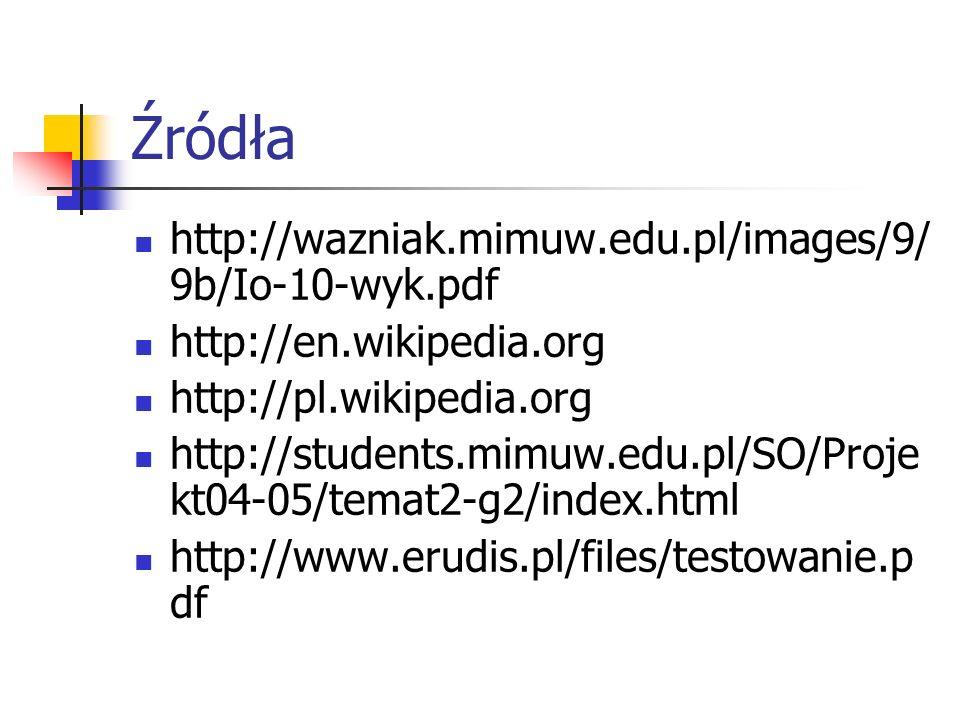 Źródła http://wazniak.mimuw.edu.pl/images/9/ 9b/Io-10-wyk.pdf http://en.wikipedia.org http://pl.wikipedia.org http://students.mimuw.edu.pl/SO/Proje kt