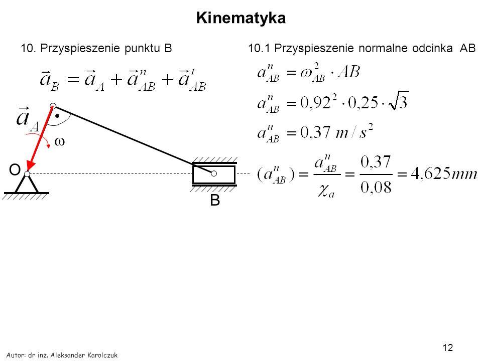 Autor: dr inż. Aleksander Karolczuk 12 Kinematyka O B 10. Przyspieszenie punktu B10.1 Przyspieszenie normalne odcinka AB