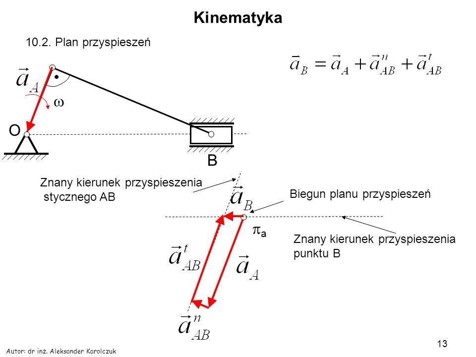Autor: dr inż. Aleksander Karolczuk 13 Kinematyka O B 10.2. Plan przyspieszeń a Biegun planu przyspieszeń Znany kierunek przyspieszenia stycznego AB Z